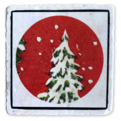 "Oh Christmas Tree, Holiday Winter Scene on 4""x4"" Tumbled Marble Tile"