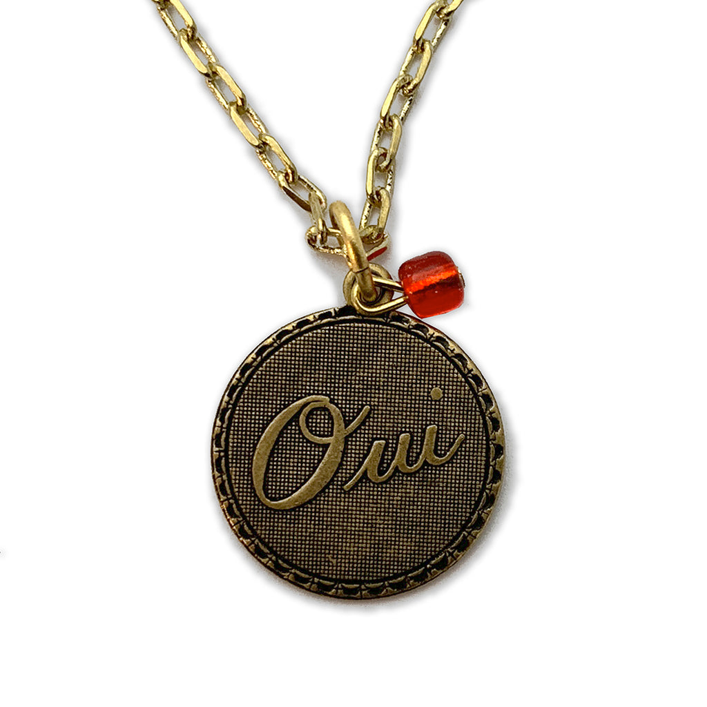 Oui! Medallion Charm and Red Heart Bead Necklace