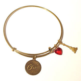 Oui! Medallion with Eiffel Tower Charm and Red Heart Bead Bracelet
