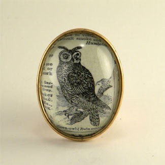 Wise Old Owl Vintage Engraving Brooch