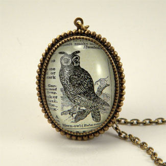 Wise Old Owl Vintage Engraving Jewelry