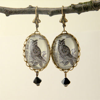 Wise Old Owl Vintage Engraving Earrings