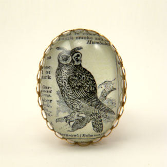 Wise Old Owl Vintage Engraving Cocktail Ring