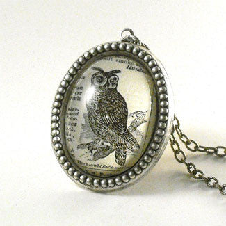 Wise Old Owl Vintage Engraving Deluxe Pendant Necklaces