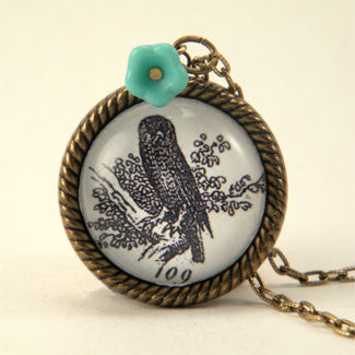Wise Old Owl Vintage Engraving Small Pendant Necklace