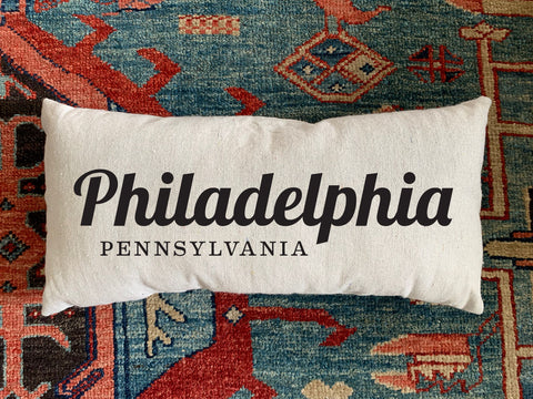 Philadelphia, PA Handmade Canvas Pillow