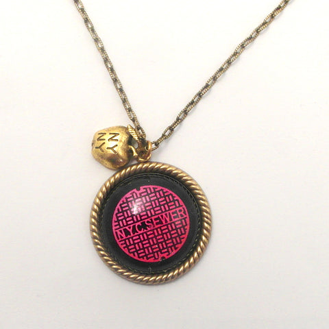 Pink New York City Manhole Cover with NY Apple Charm