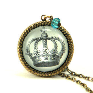 Poor Little Rich Girl Royal Crown Engraving Necklace