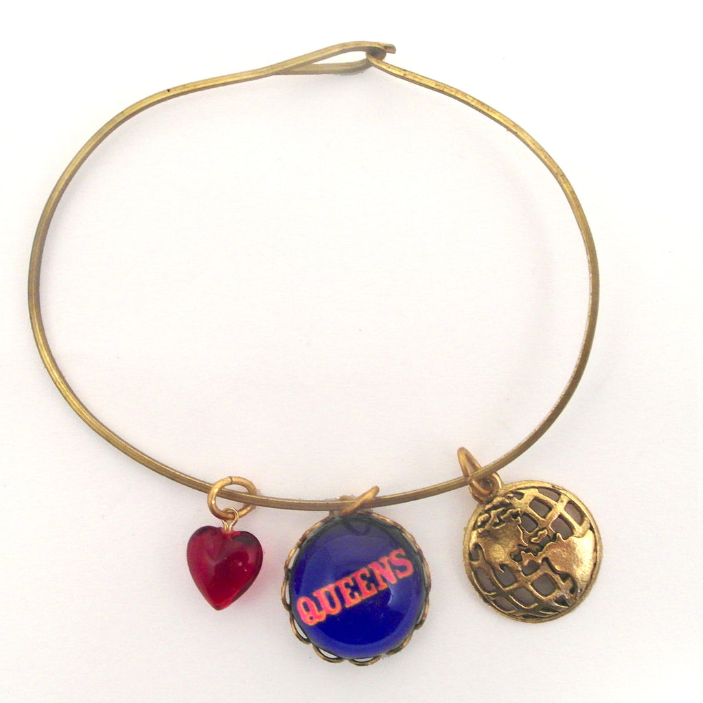 "Queens, Unisphere and ""I love it"" Red Bead Charm Bracelet or Necklace"