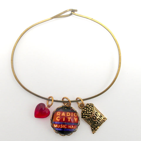 "Radio City, Popcorn Bag and ""I love it"" Red Bead Charm Bracelet"