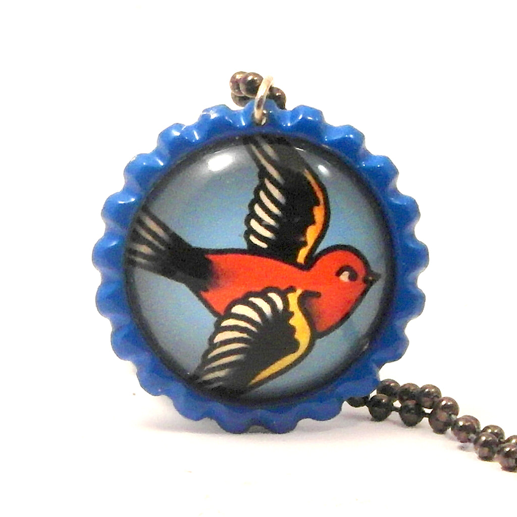 Red Bird - Bottle Cap necklace