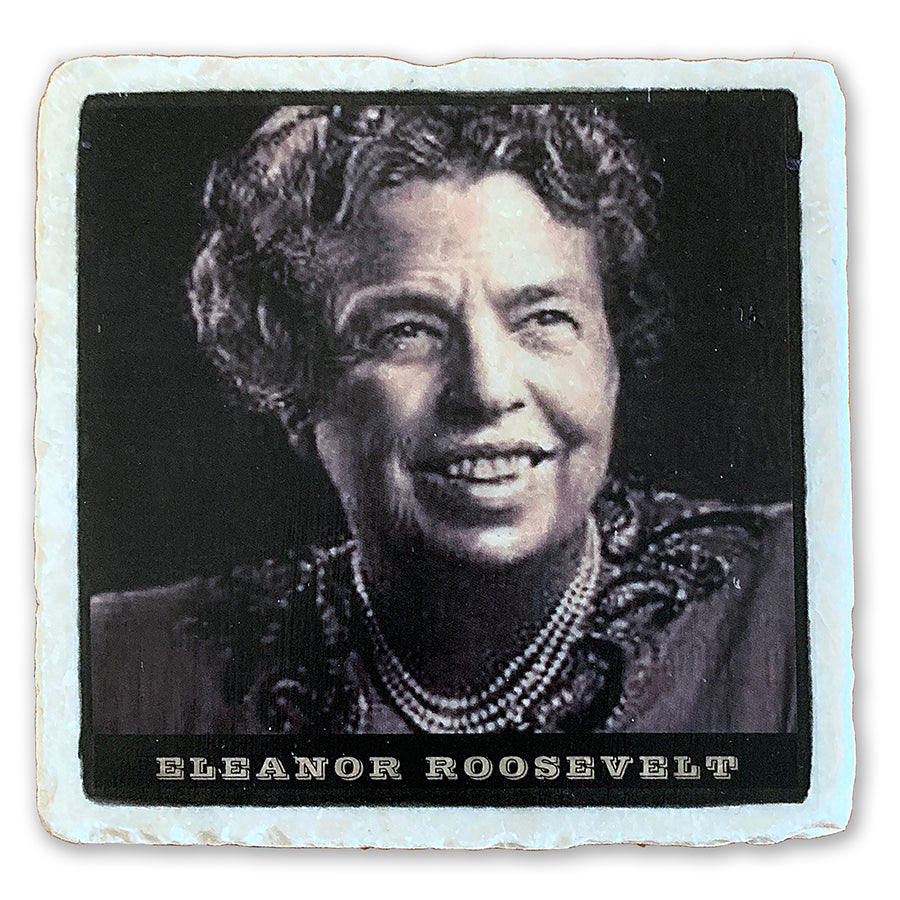"Eleanor Roosevelt, The Longest Serving First Lady on 4""x4"" Tumbled Marble Tile"