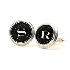 Monogram _ Cuff Links Sterling Silver Plate White Letters on Black Background