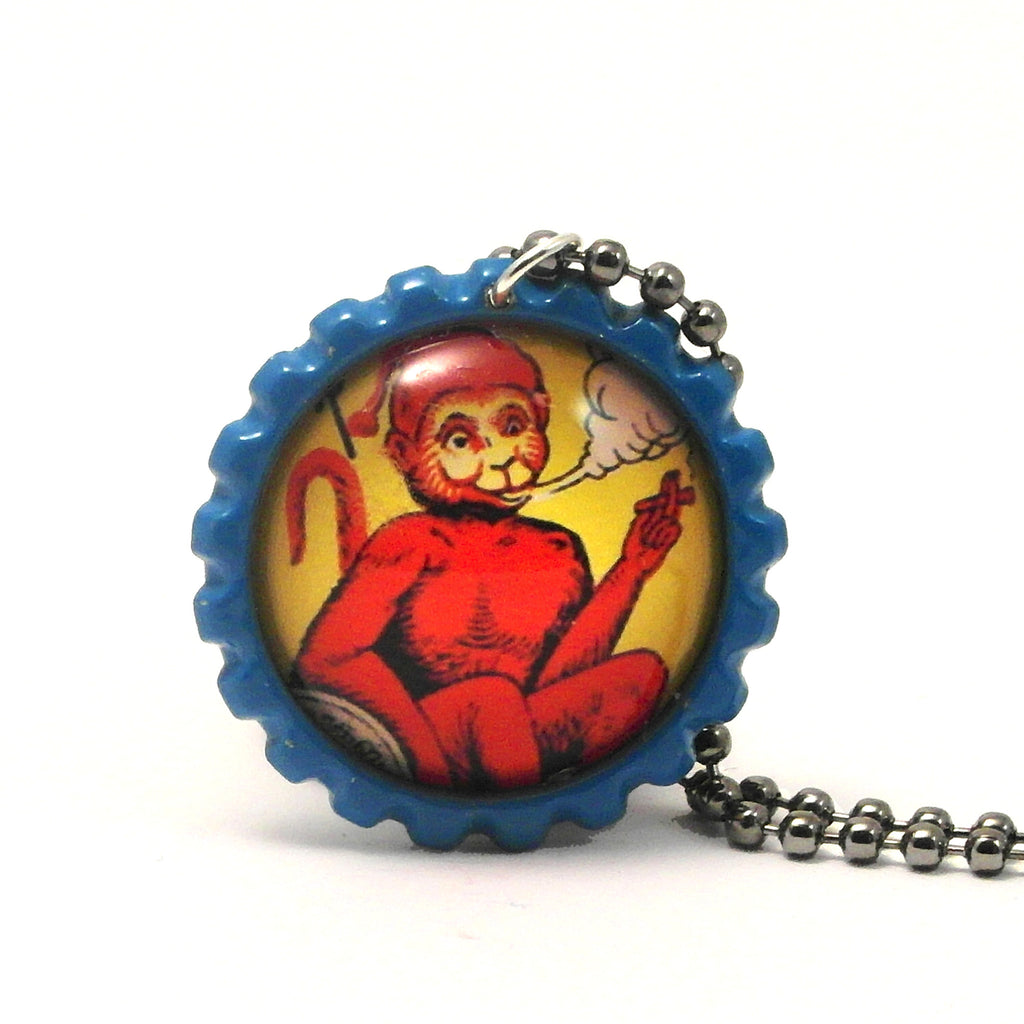 Smoking Red Monkey - Matchbox Art Jewelry