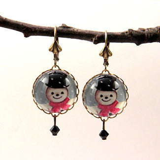 Jolly Snowman - A Winter Holiday Jewelry Set in Necklaces, Earrings, Bracelets, Cuff Links and more