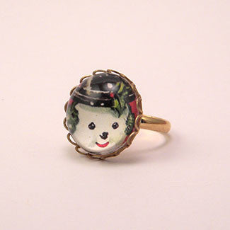 Big Snowman Winter Holiday Jewelry Petite Ring