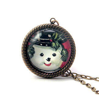 Big Snowman Winter Holiday Jewelry in 25mm Necklace