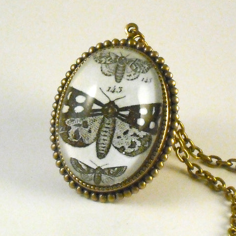 Speckled Wings and Flying Things Moth Vintage Engraving Deluxe Pendant Necklace