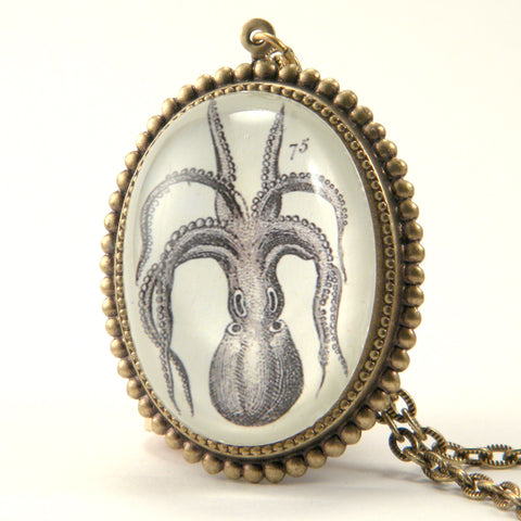 I'm All Arms - Vintage Octopus Engraving Deluxe Necklace