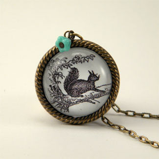 Squirrel vs. Tree Necklace - Woodland Animal Jewelry