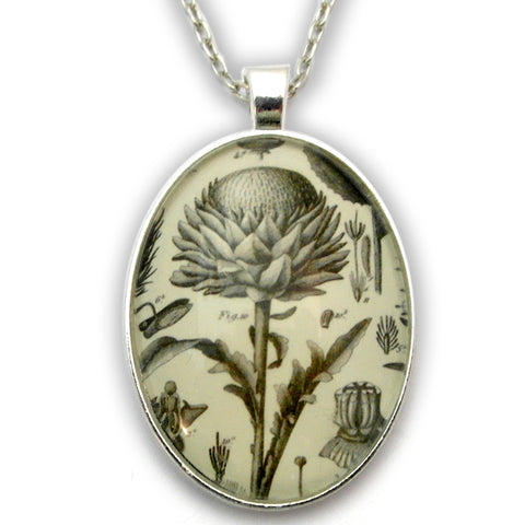 Spring Fling - Vintage Thistle Botanical Engraving Jewelry. Now with New Silver Pendant Setting