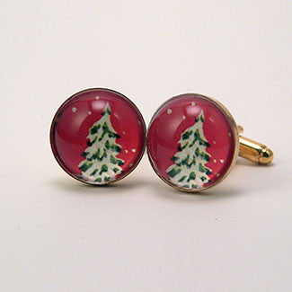 O' Tannenbaum Holiday Snowy Evergreen Tree Cuff Links