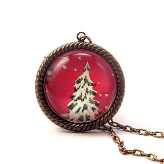 O' Tannenbaum Holiday Snowy Evergreen Tree Necklaces