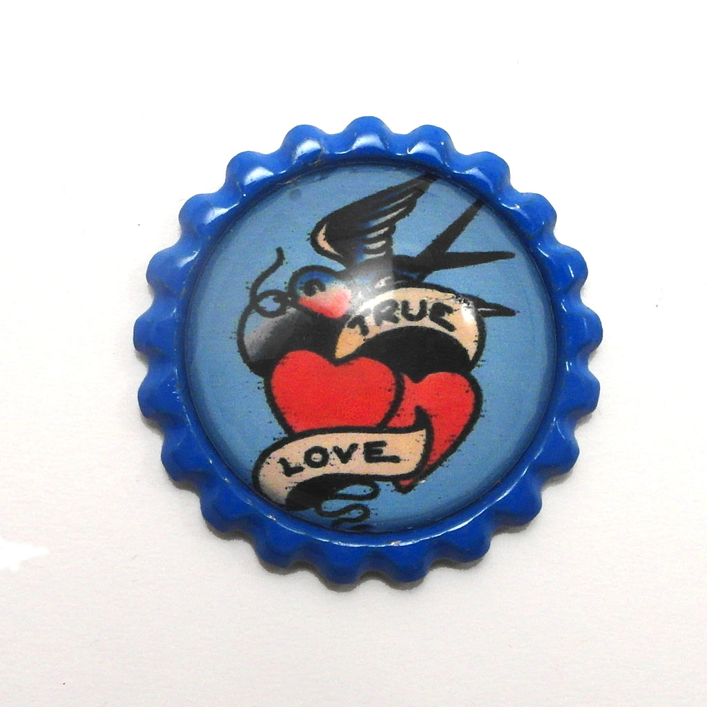 True Love Tattoo Art- Bottle Cap necklace