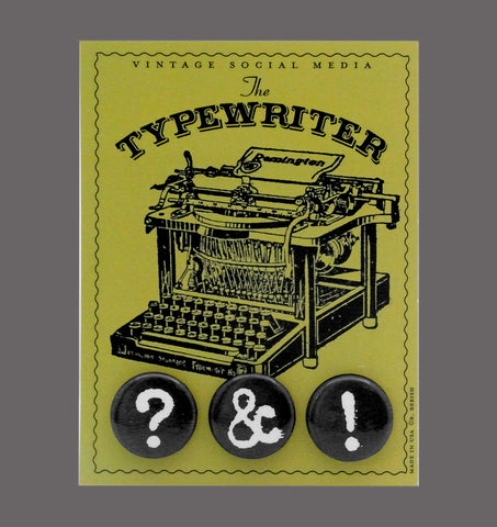 The Typewriter- Vintage Social Media Button Cards Sold in a 5 pack