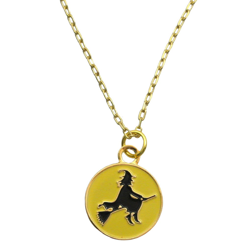 Flying Witch Enamel Charm Necklace
