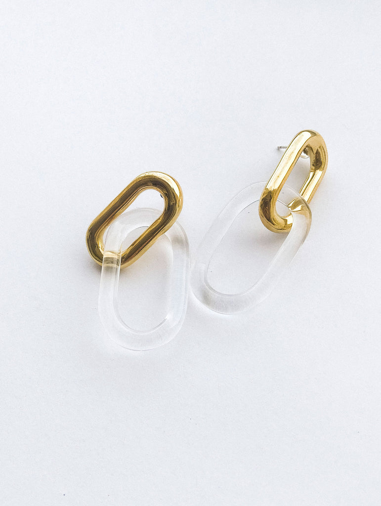 Oval Sterling & Glass Link Earrings