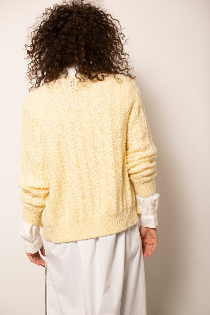 Light Yellow V-Neck Cardigan