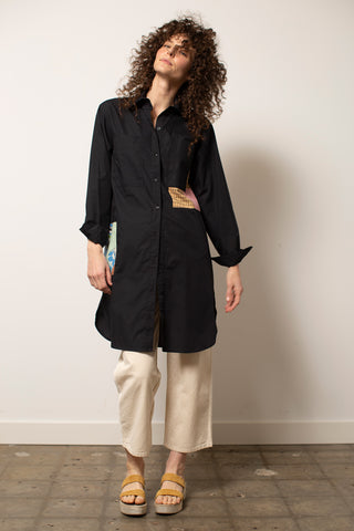Patchwork Shirtdress - Black - M