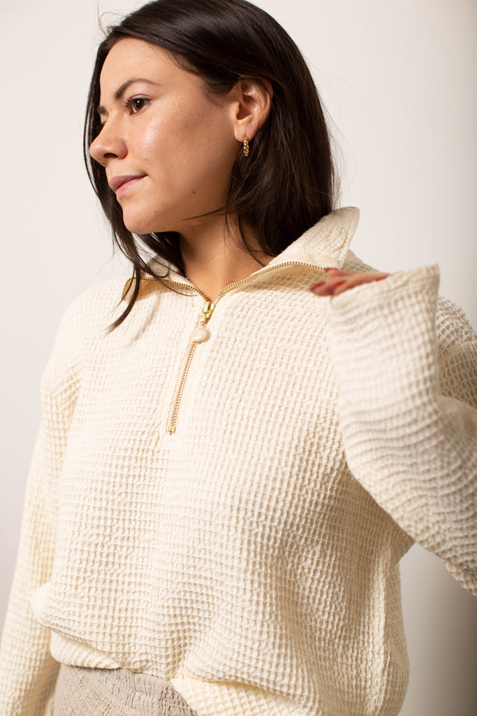 Waffle 1/2 Zip Pullover | Creme