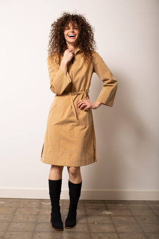 Tan Faux Suede Dress