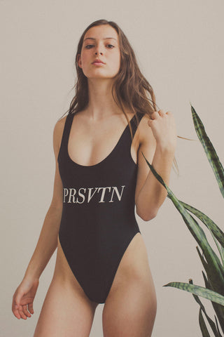 """PRSVTN"" Black One Piece Swimsuit"