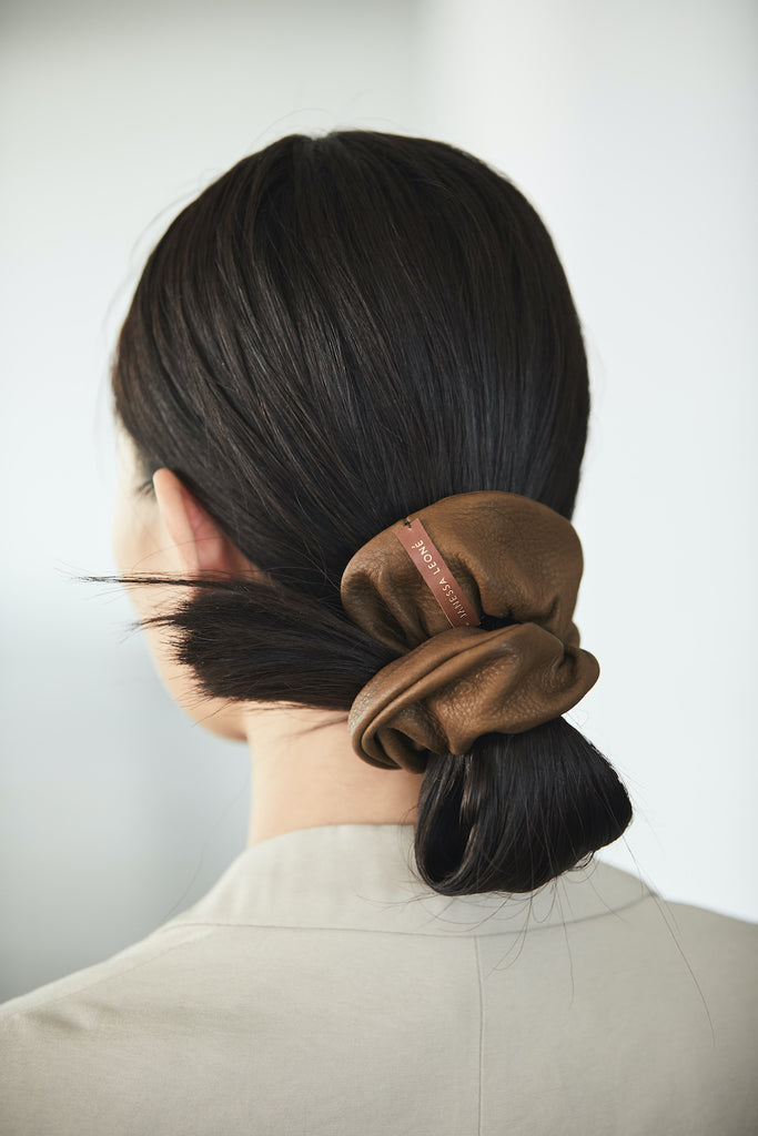 Leather Scrunchie - Brown