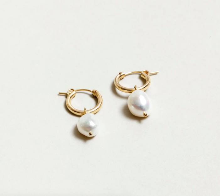 Small Pearl Hoops - Gold