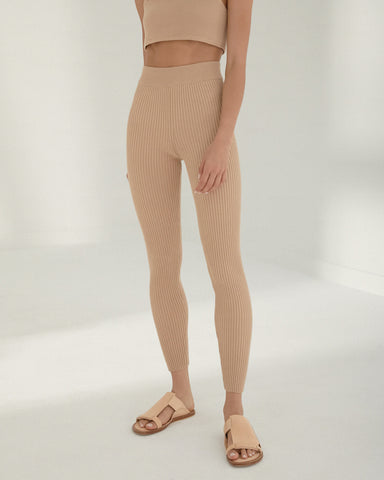 Ribbed Leggings - Nougat