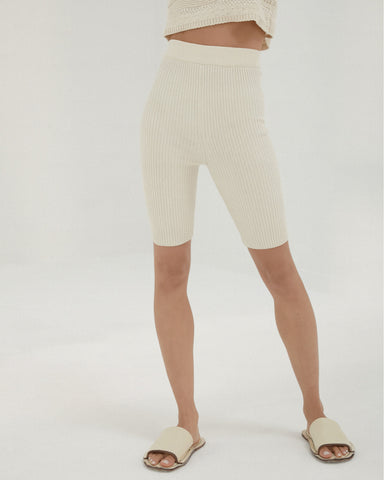 Short Ribbed Pants - Natural