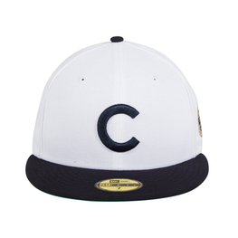 Exclusive New Era 59Fifty Chicago Cubs 1908 World Series Patch Hat - 2T White, Navy