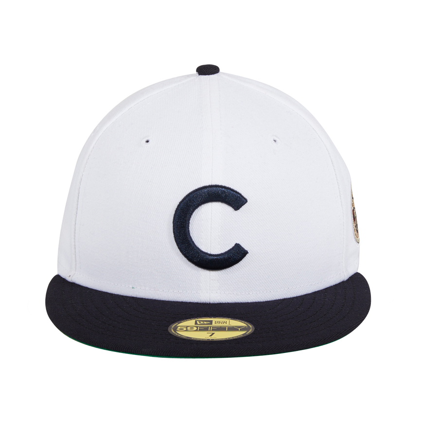 8a33354b3a6 ... Navy Exclusive New Era 59Fifty Chicago Cubs 1908 World Series Patch Hat  - 2T White