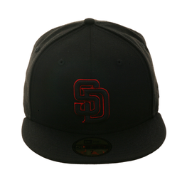 Exclusive New Era 59Fifty San Diego Padres Hat - Black, Black, Red