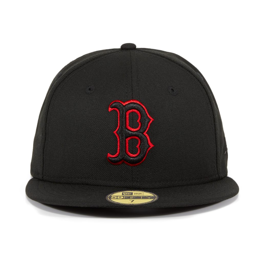Exclusive New Era 59Fifty  Boston Red Sox  Hat - Black, Black, Red