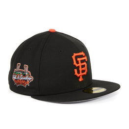 "Exclusive New Era 59Fifty San Francisco Giants ""Tell It Goodbye"" Patch Fitted Hat - Black, Orange"