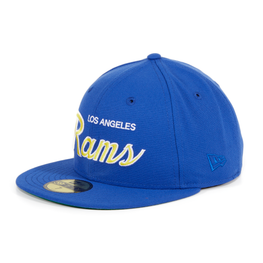Exclusive New Era 59Fifty Los Angeles Rams Script Hat - Royal, Gold