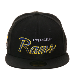 Exclusive New Era 59Fifty Los Angeles Rams Script Hat - Black, Royal, Gold