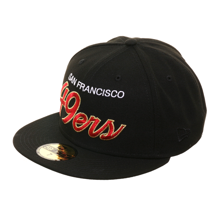 Exclusive New Era 59Fifty San Francisco 49ers Script Hat - Black, Metallic Gold, Red
