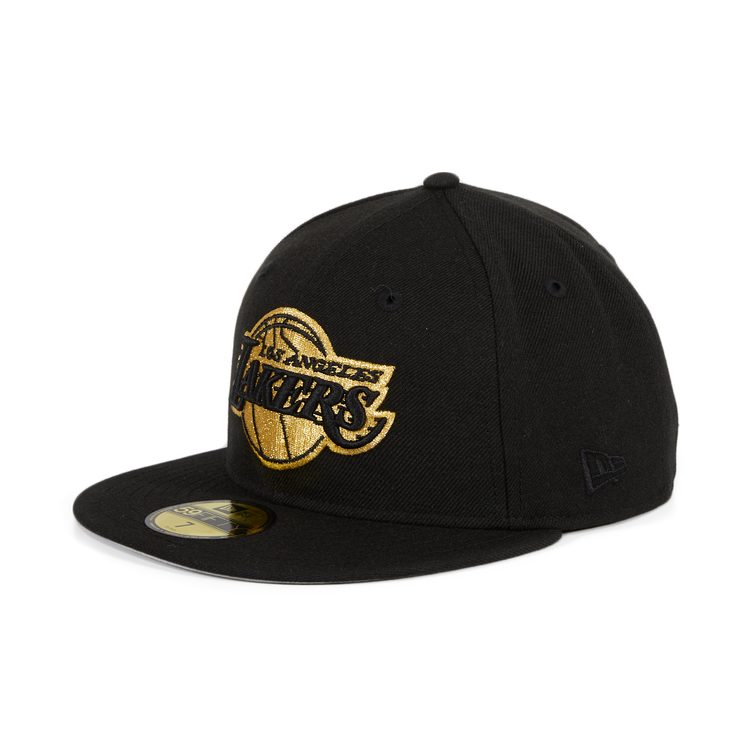 Exclusive New Era 59Fifty Los Angeles Lakers Hat - Black, Metallic Gold