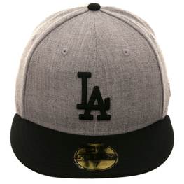 New Era 59Fifty Los Angeles Dodgers Fitted Hat - 2T Heather Gray, Black